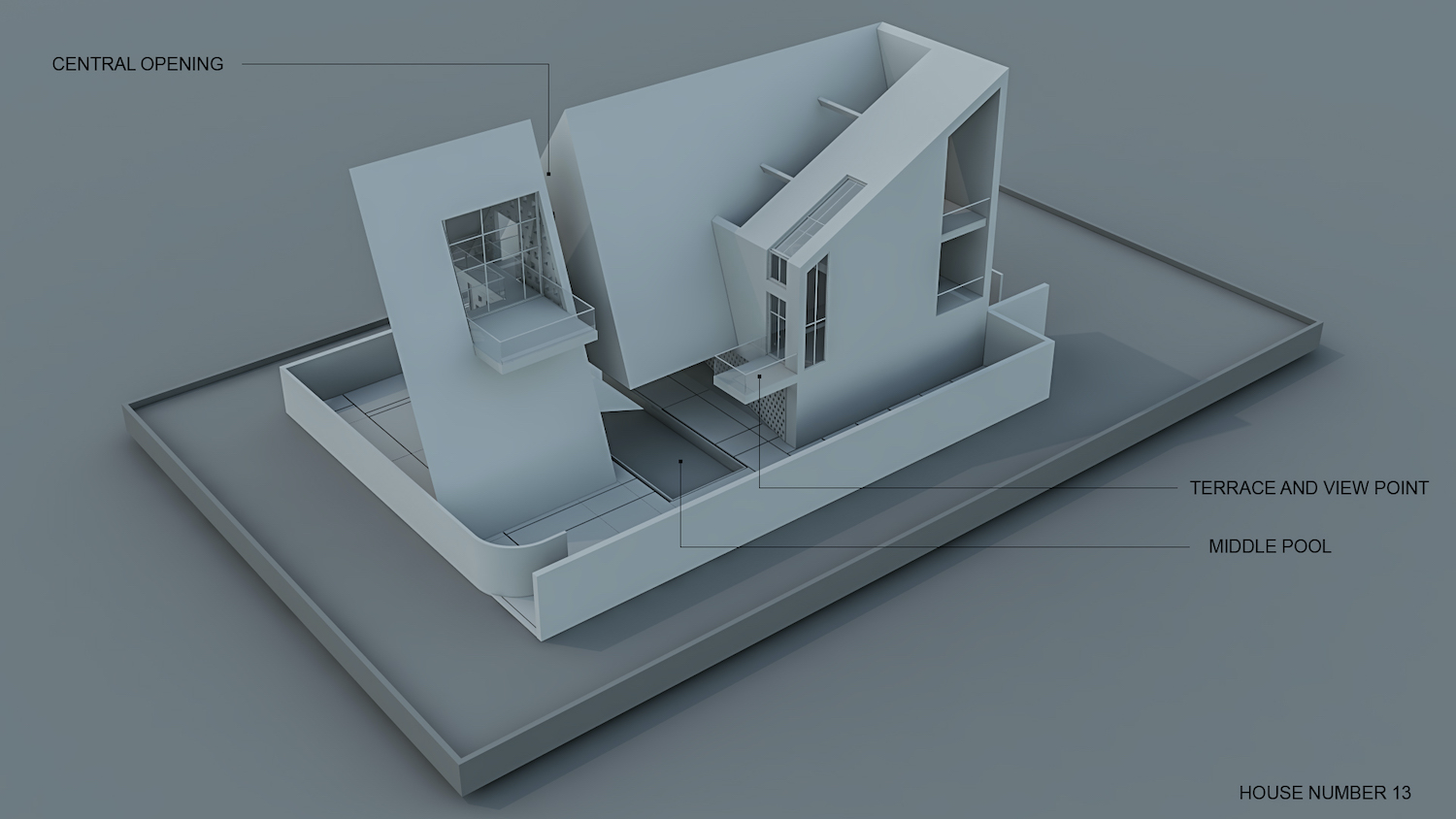 architectural drawing diagram to show the space and function of the house