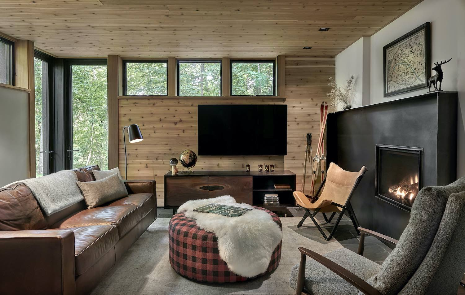 a cozy living room with television
