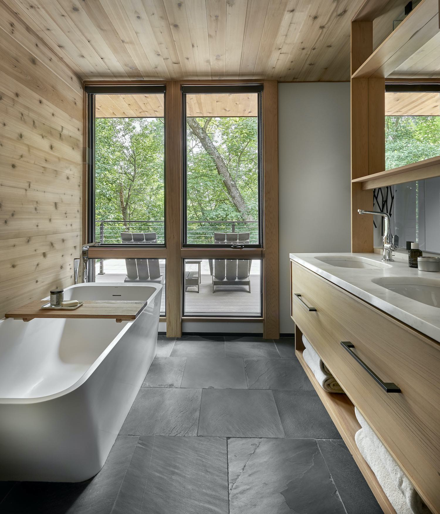 bathroom with vertical windows