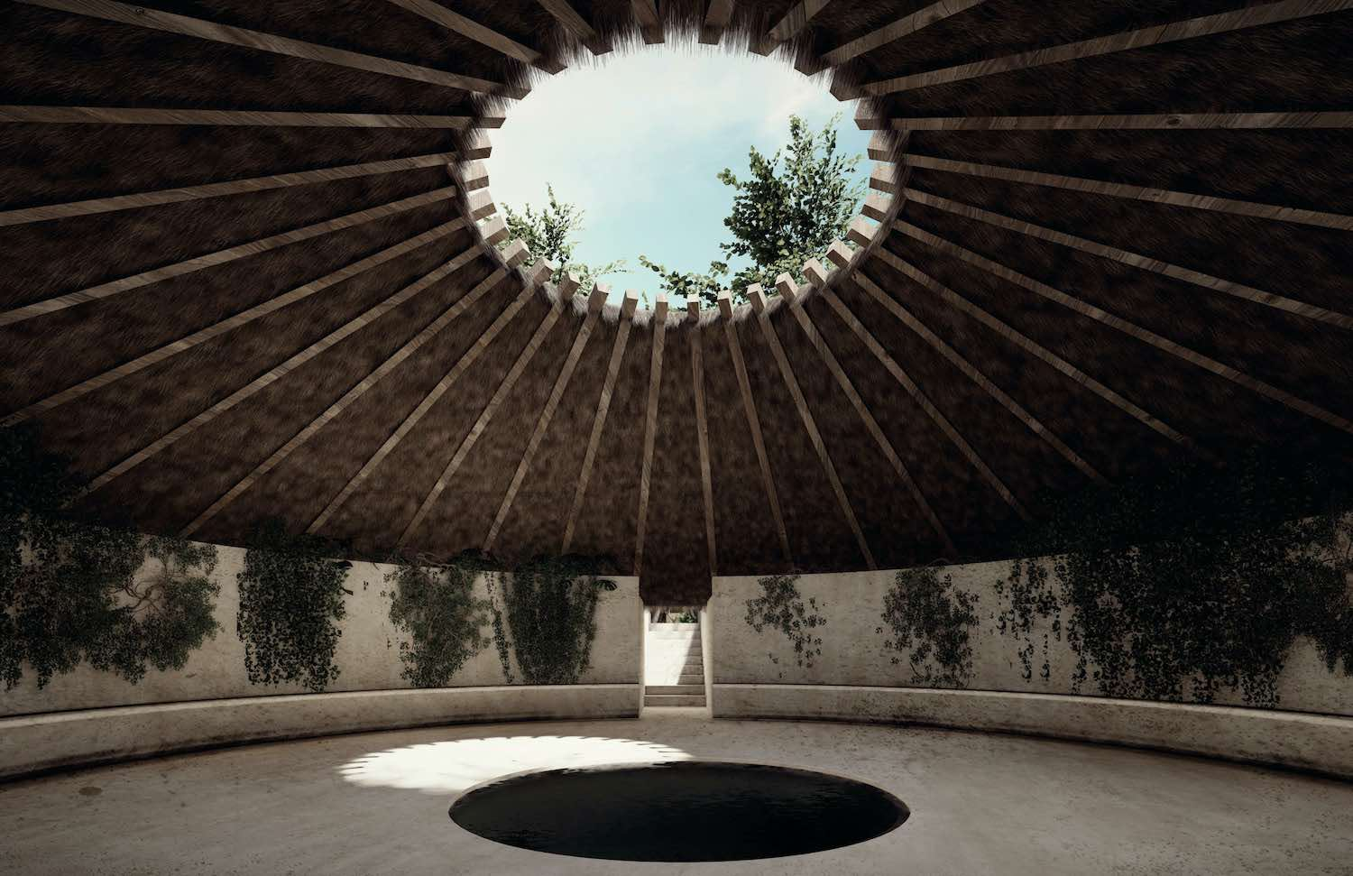 yoga room with open skylight in roof