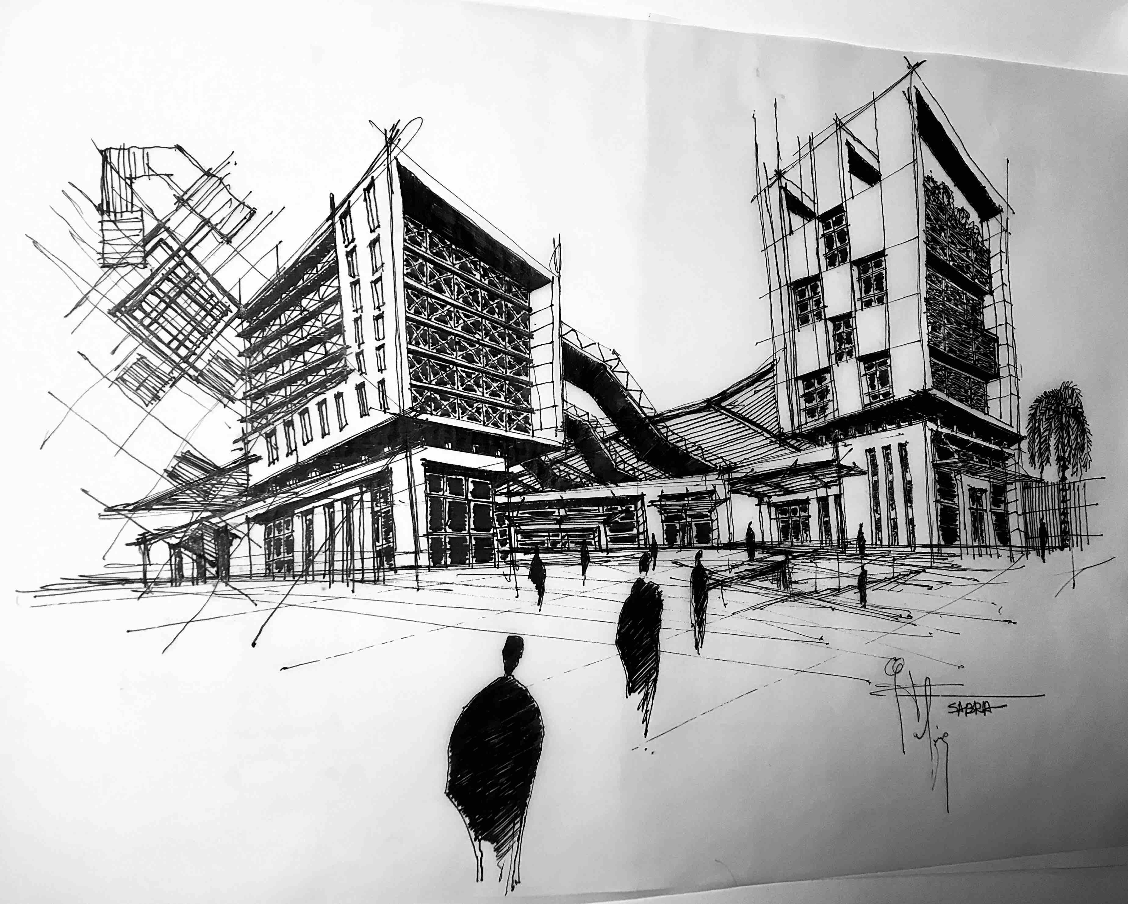 Architectural sketch rafiq sabra 004 jpg