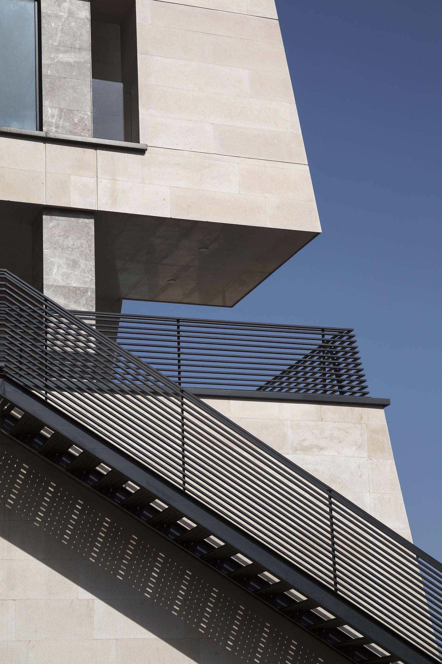black metallic staircase