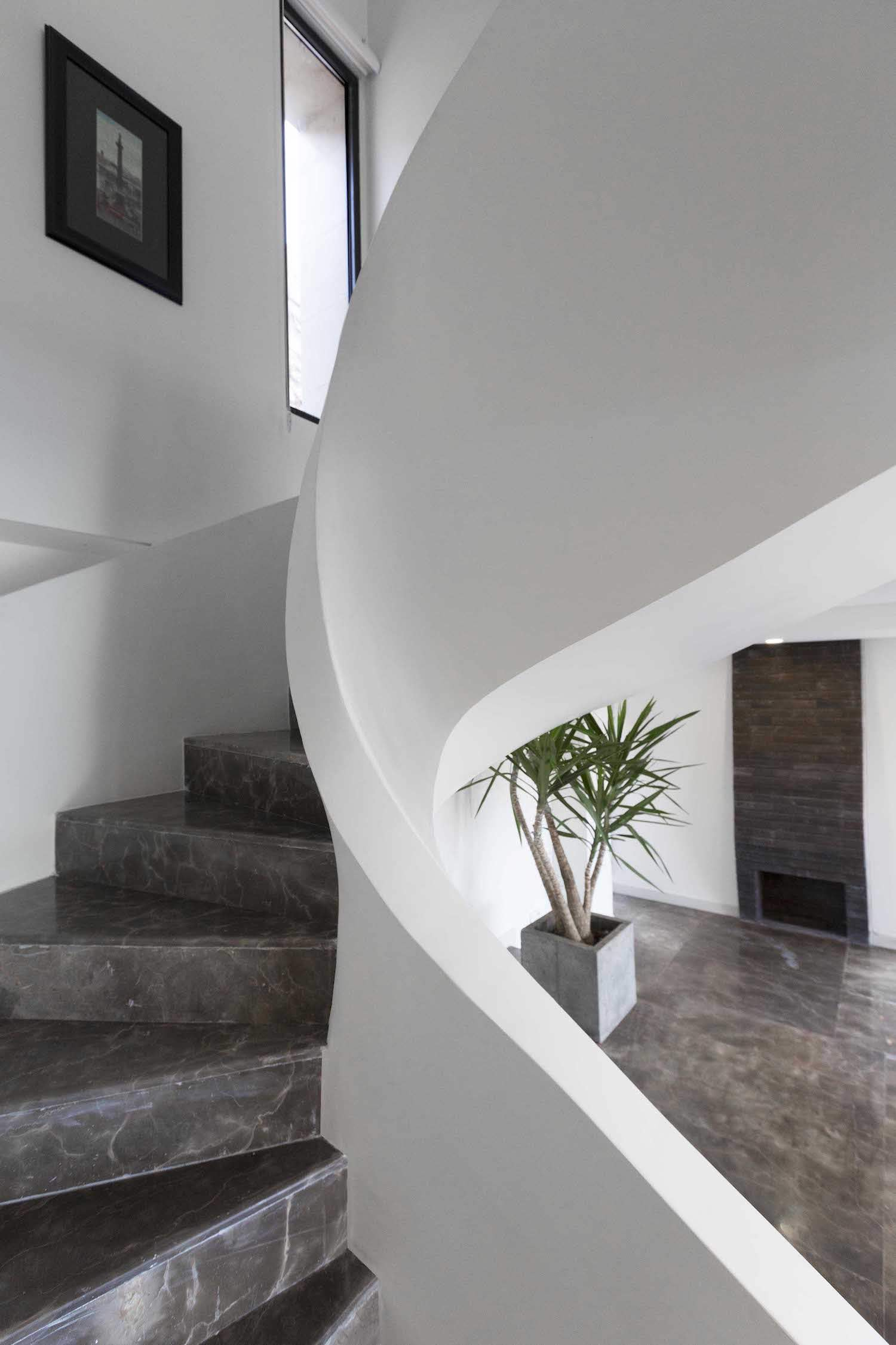 spiral staircase made of stucco
