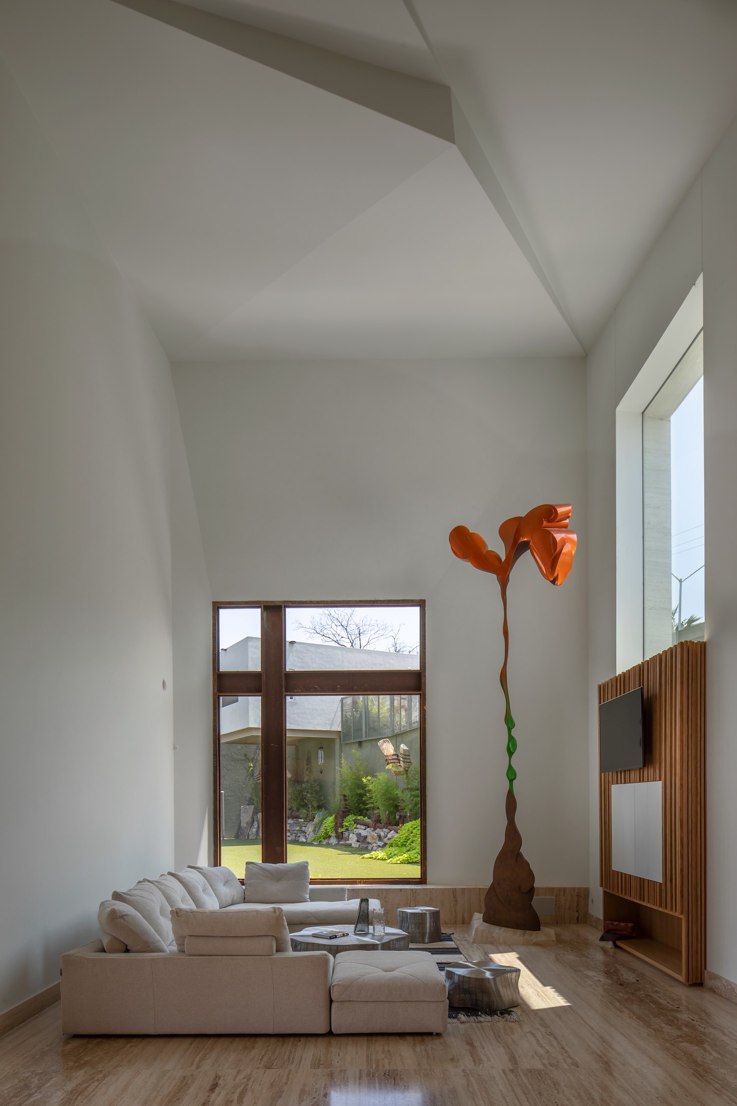 living room with large window to the garden
