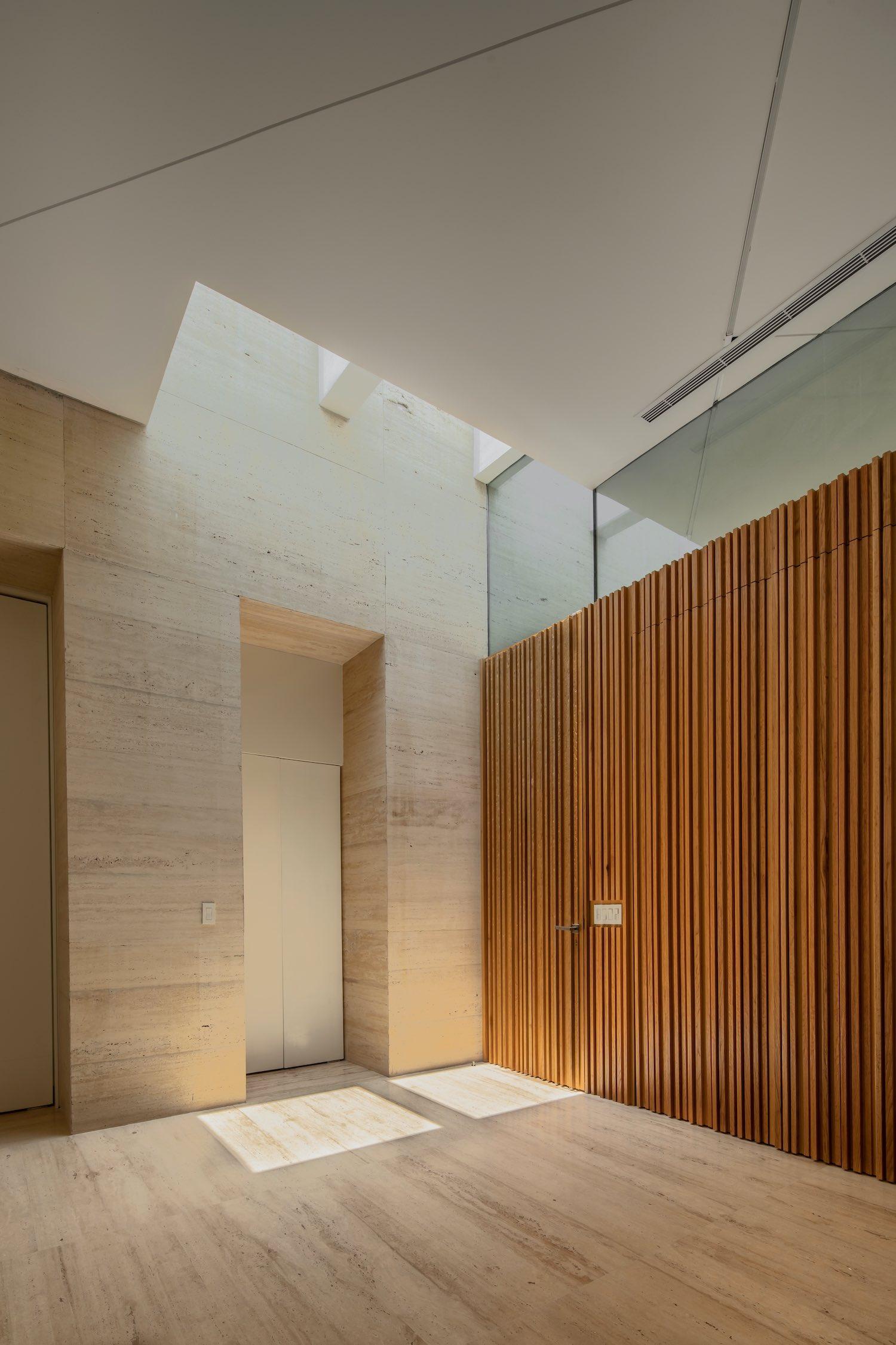 oak wood wall and marble stone floor