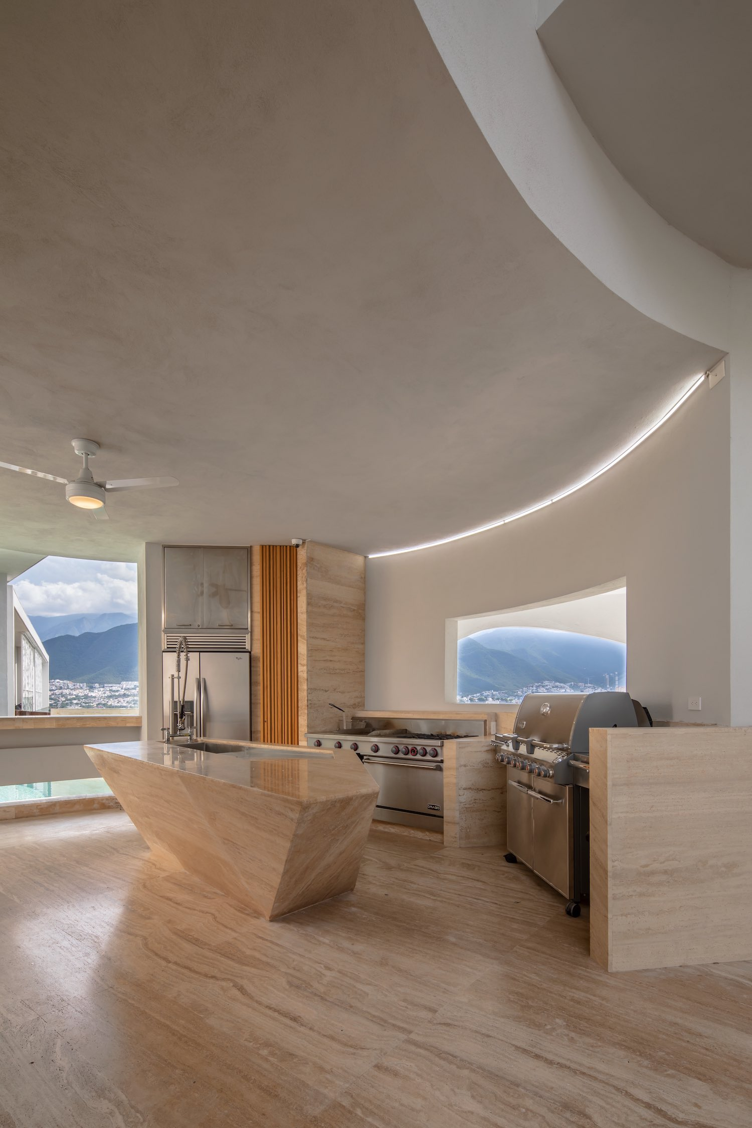 modern kitchen with island made of marble stone