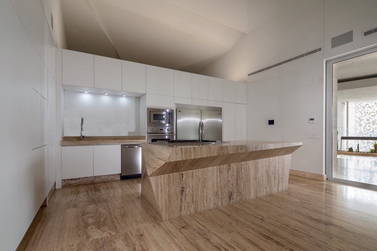 kitchen island made of marble stone