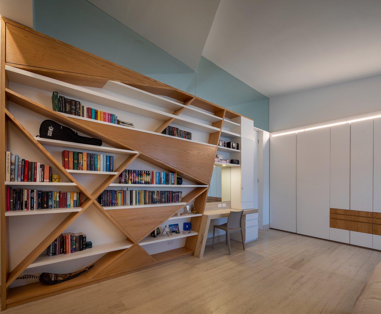 triangular shaped bookshelves