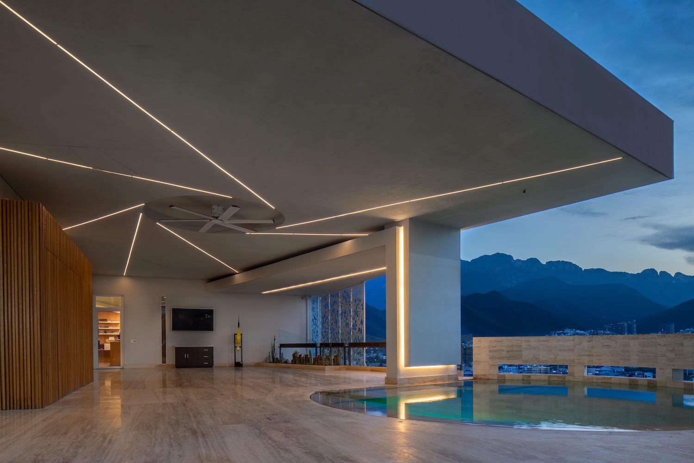 house with circular pool