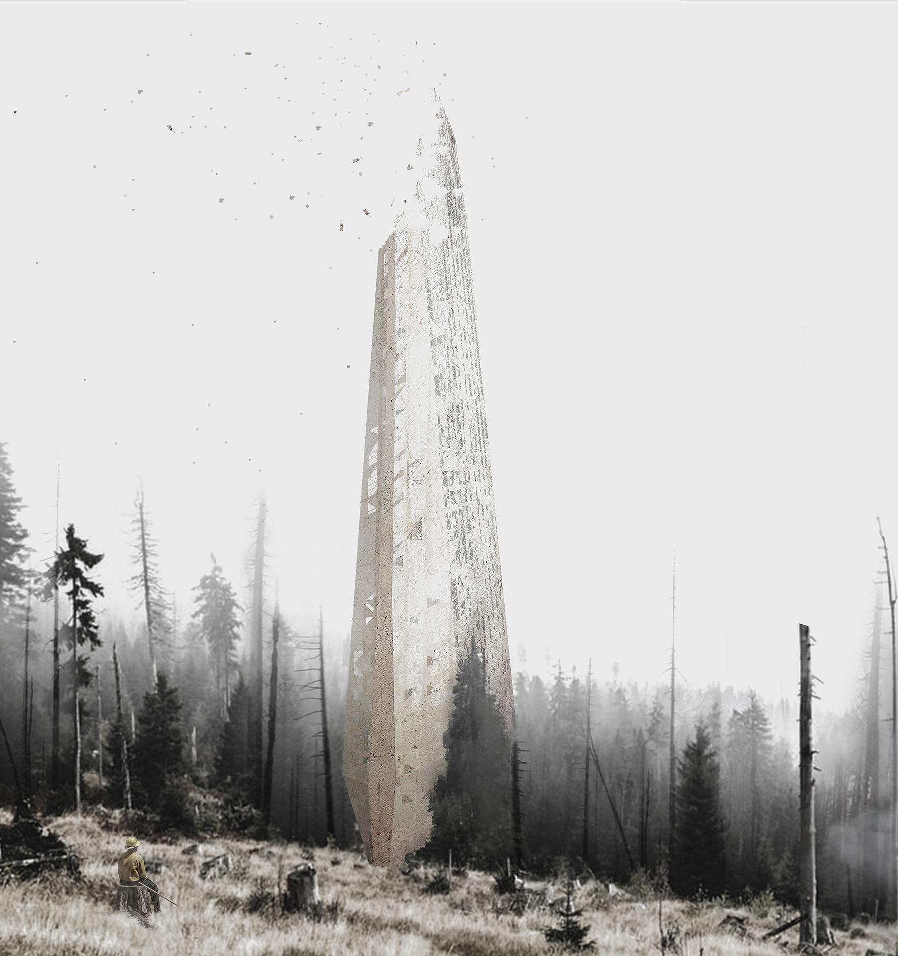 forest skyscraper by Italian architecture student