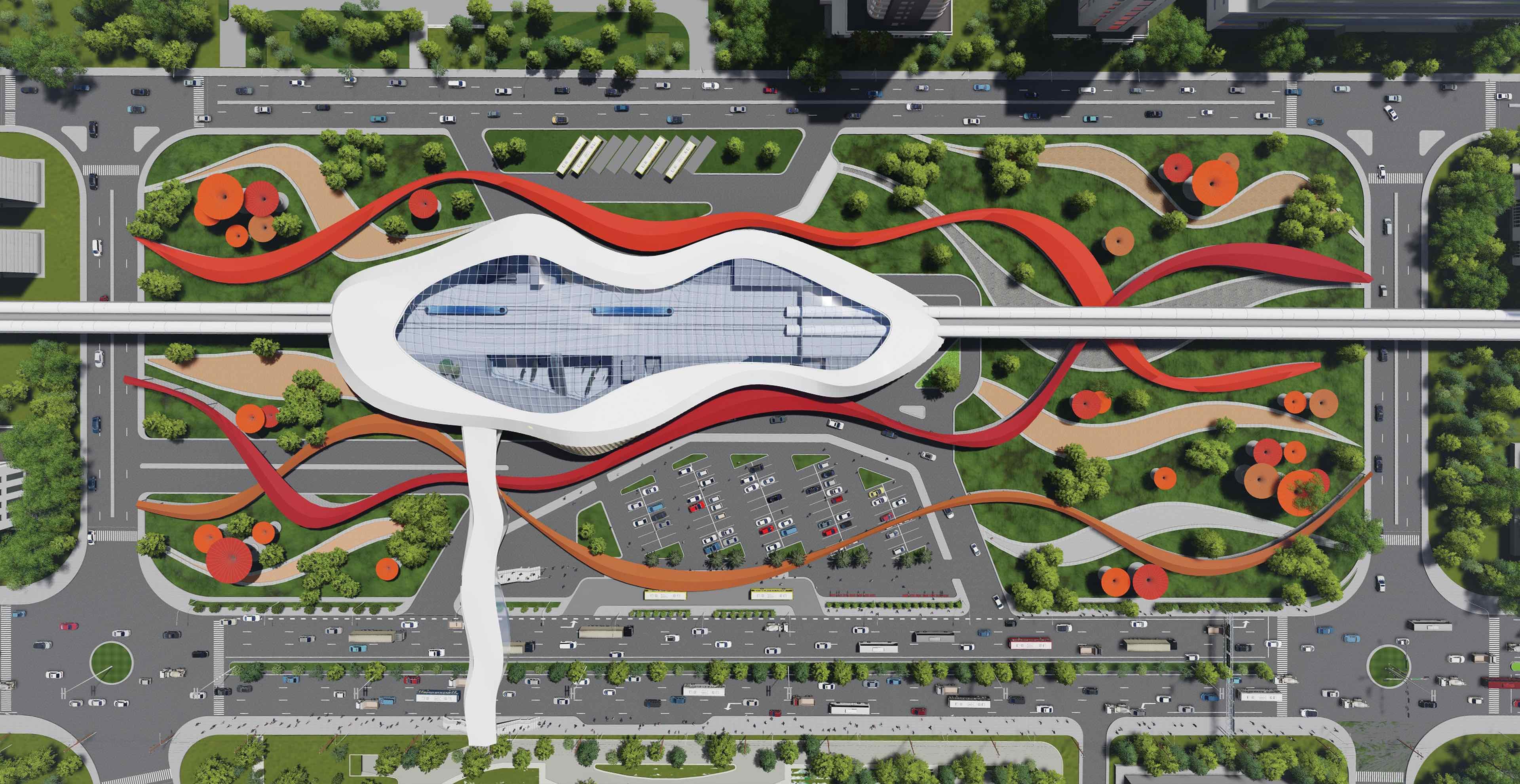 Top view of the hyperloop