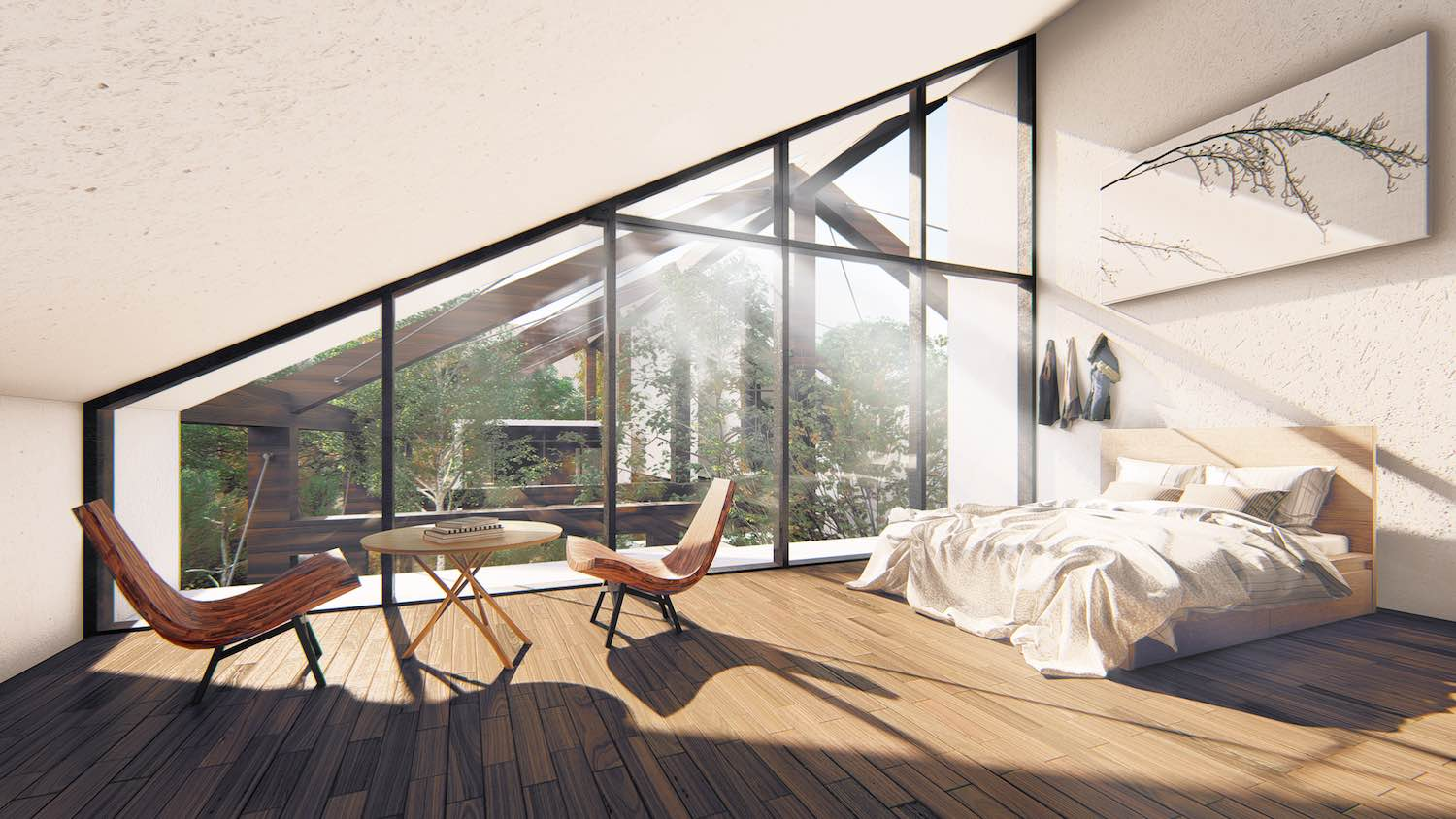 sun rays entering the master bedroom through large glass windows