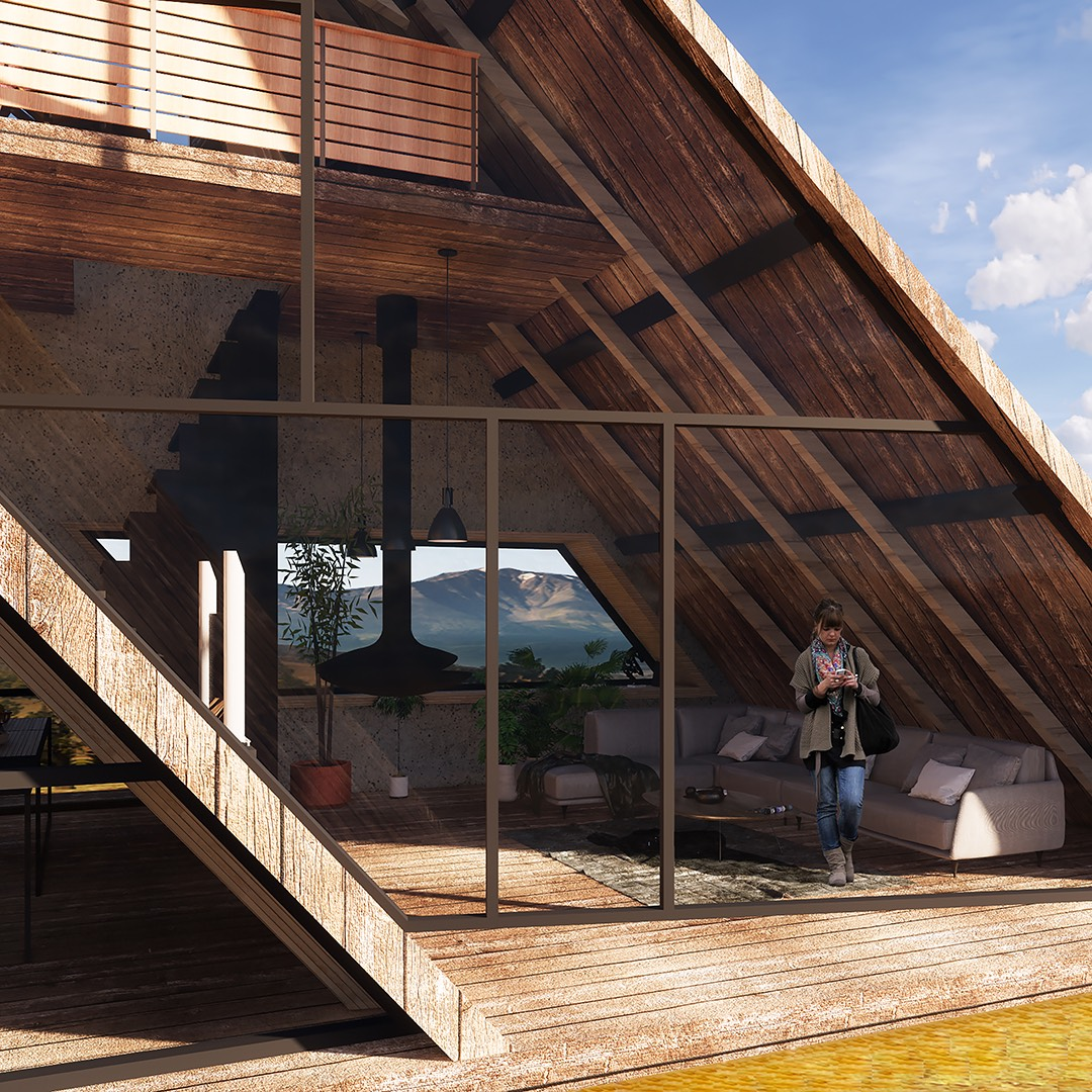 cabin house rendering image