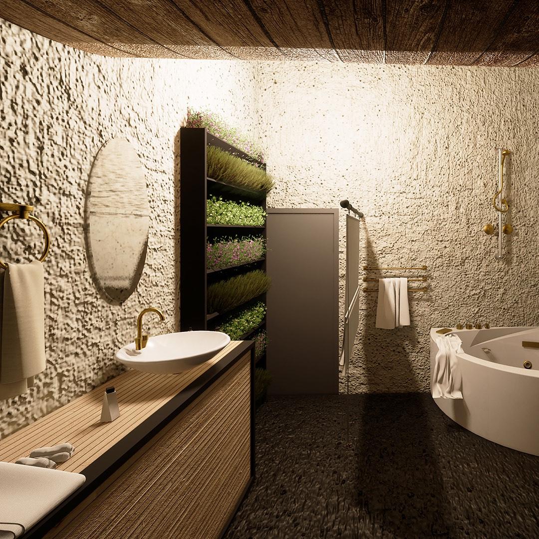 bathroom with green vegetation inside
