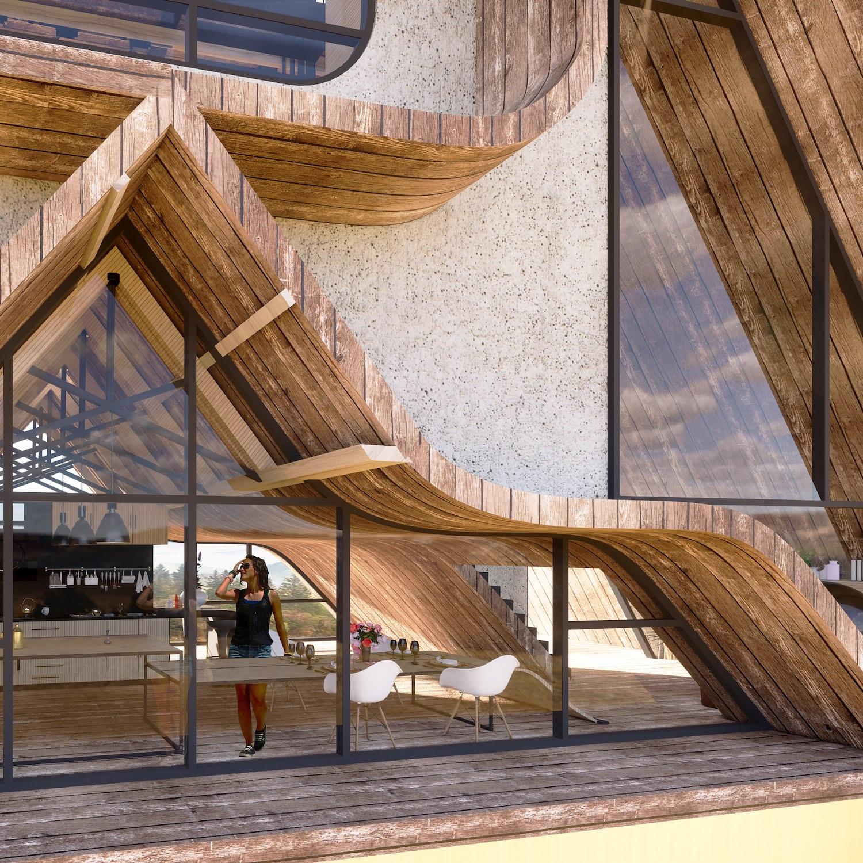 girl inside triangular cabin