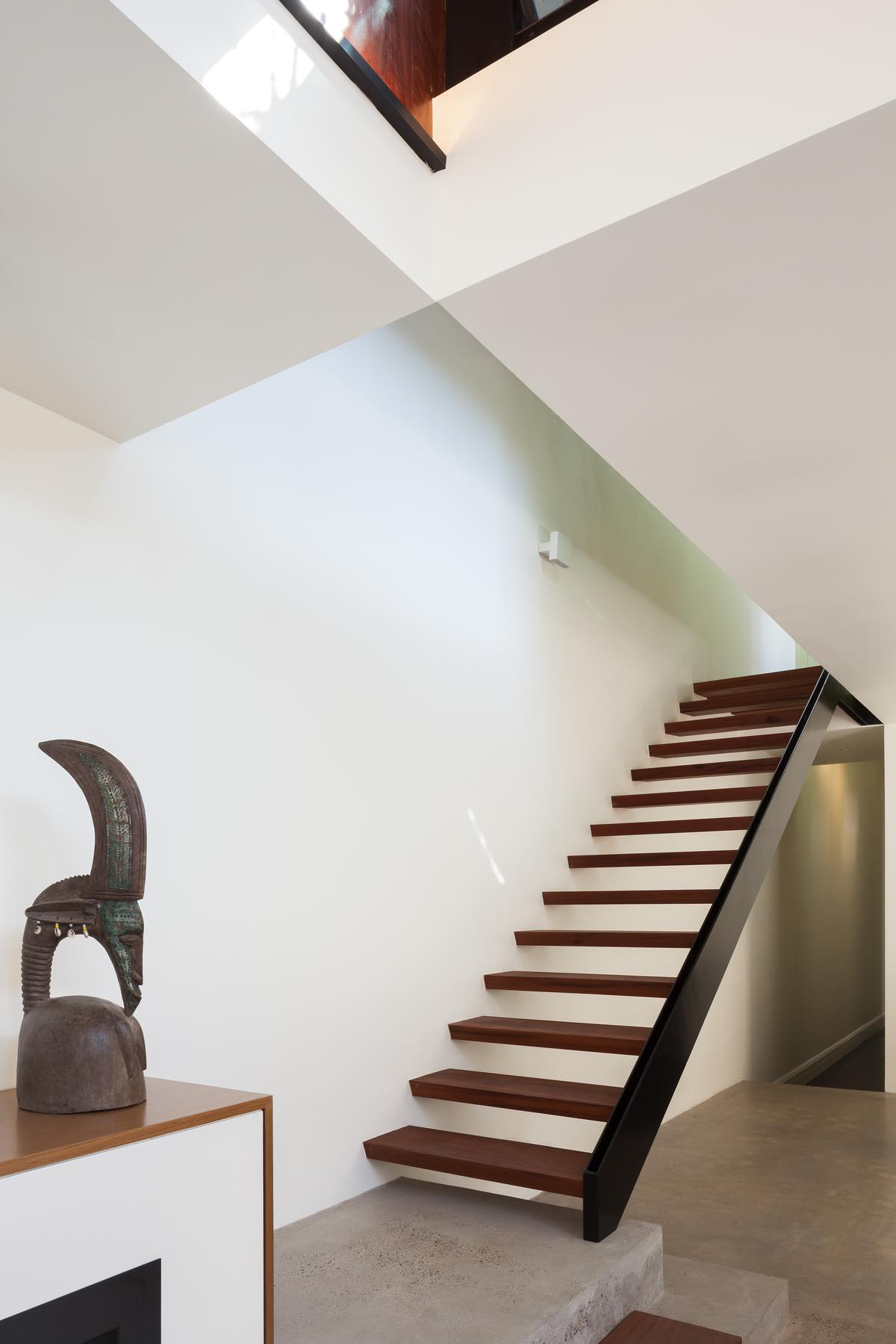 Wooden staircase to upstairs