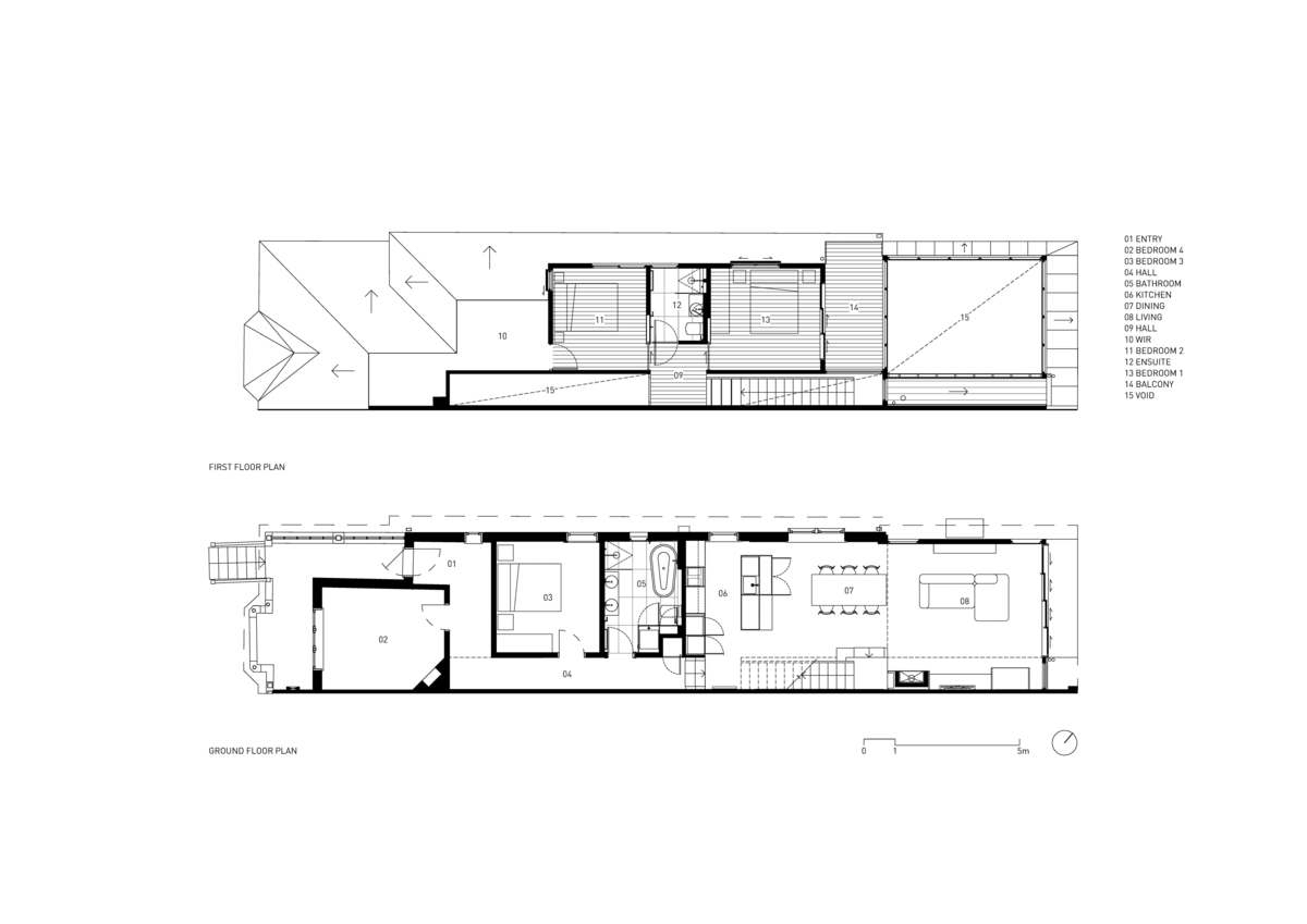 Architectural plans of the house including ground floor and first floor