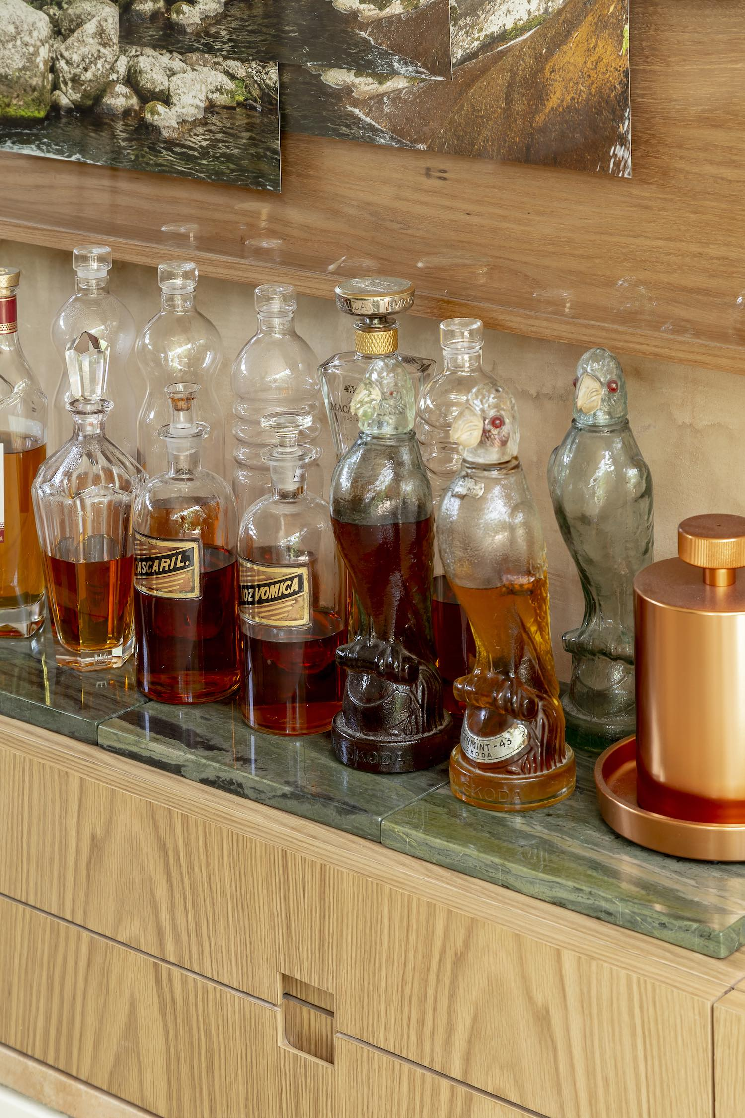 alcohol inside glass bottles