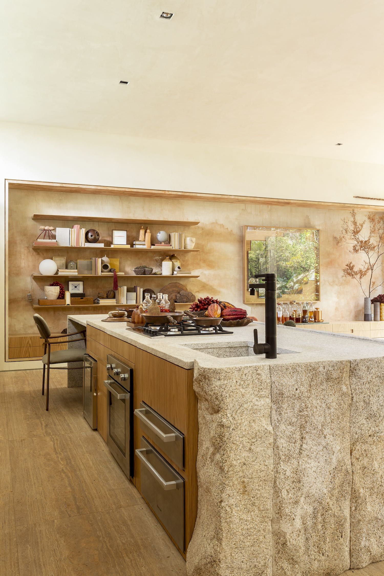 kitchen island made of stone