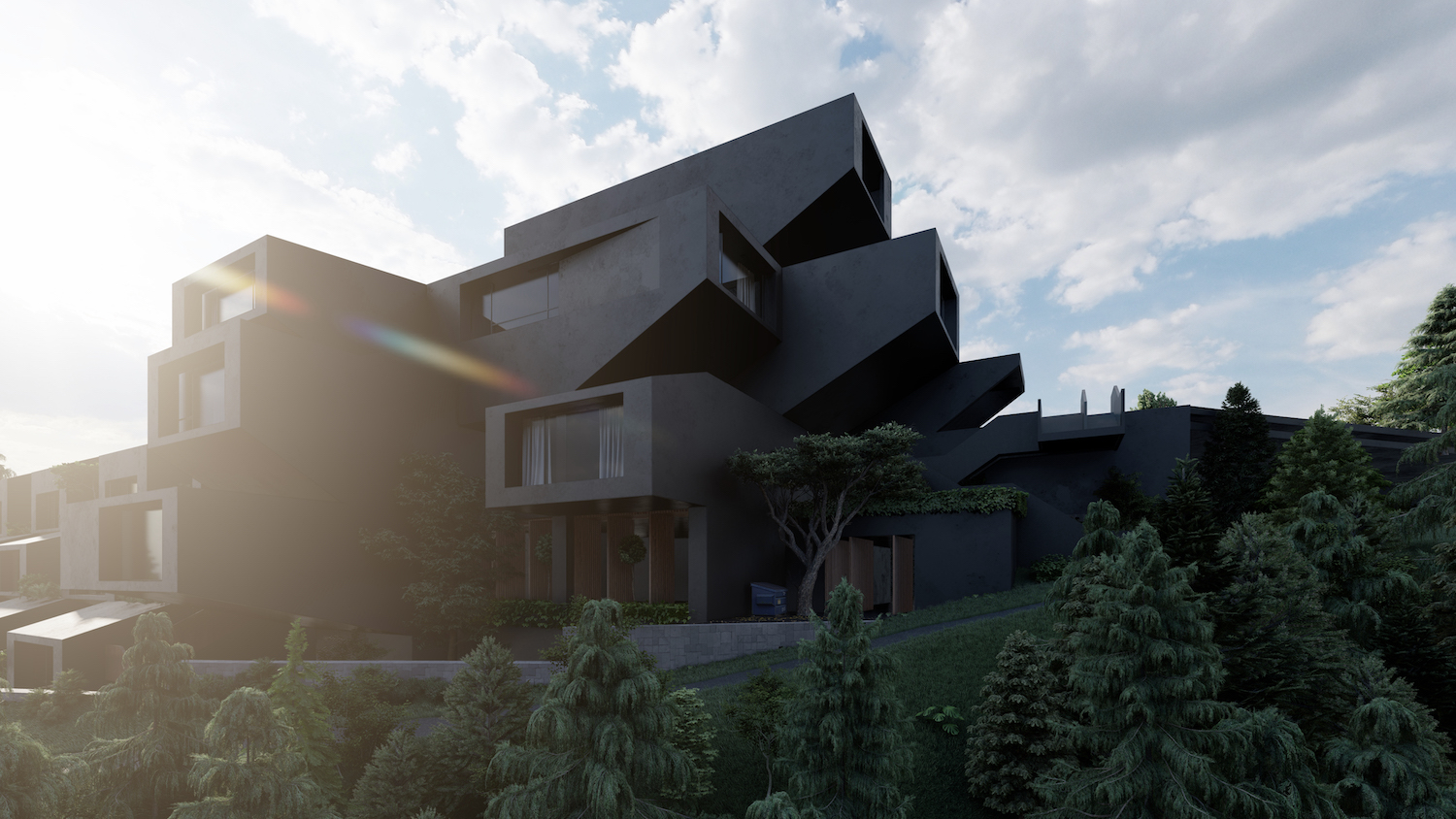 a ski resort with black apartment facade located in northern Tehran