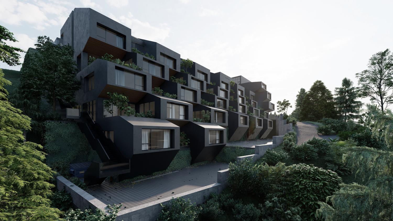 black building among nature