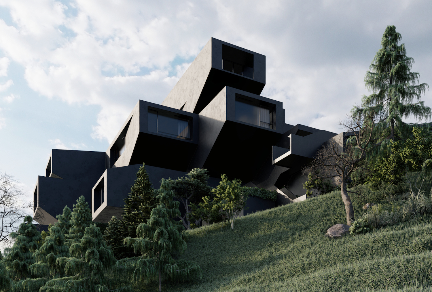 a black building surrounded with green nature