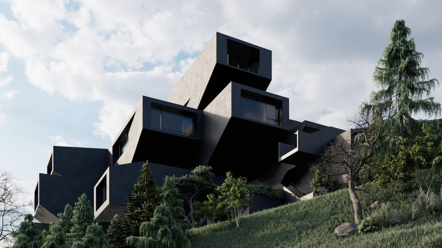 rendering image of a black building on a green hill