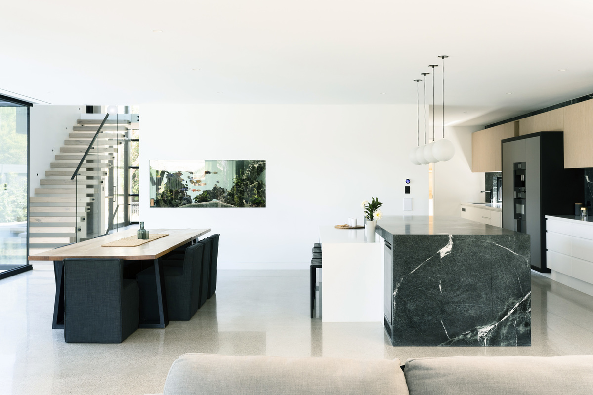 luxury kitchen located near living area