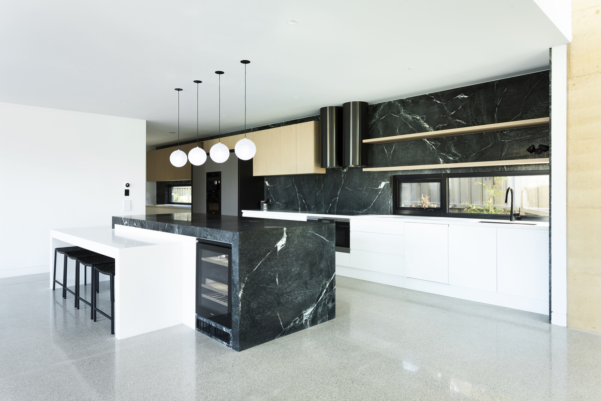 the black marble used for the kitchen