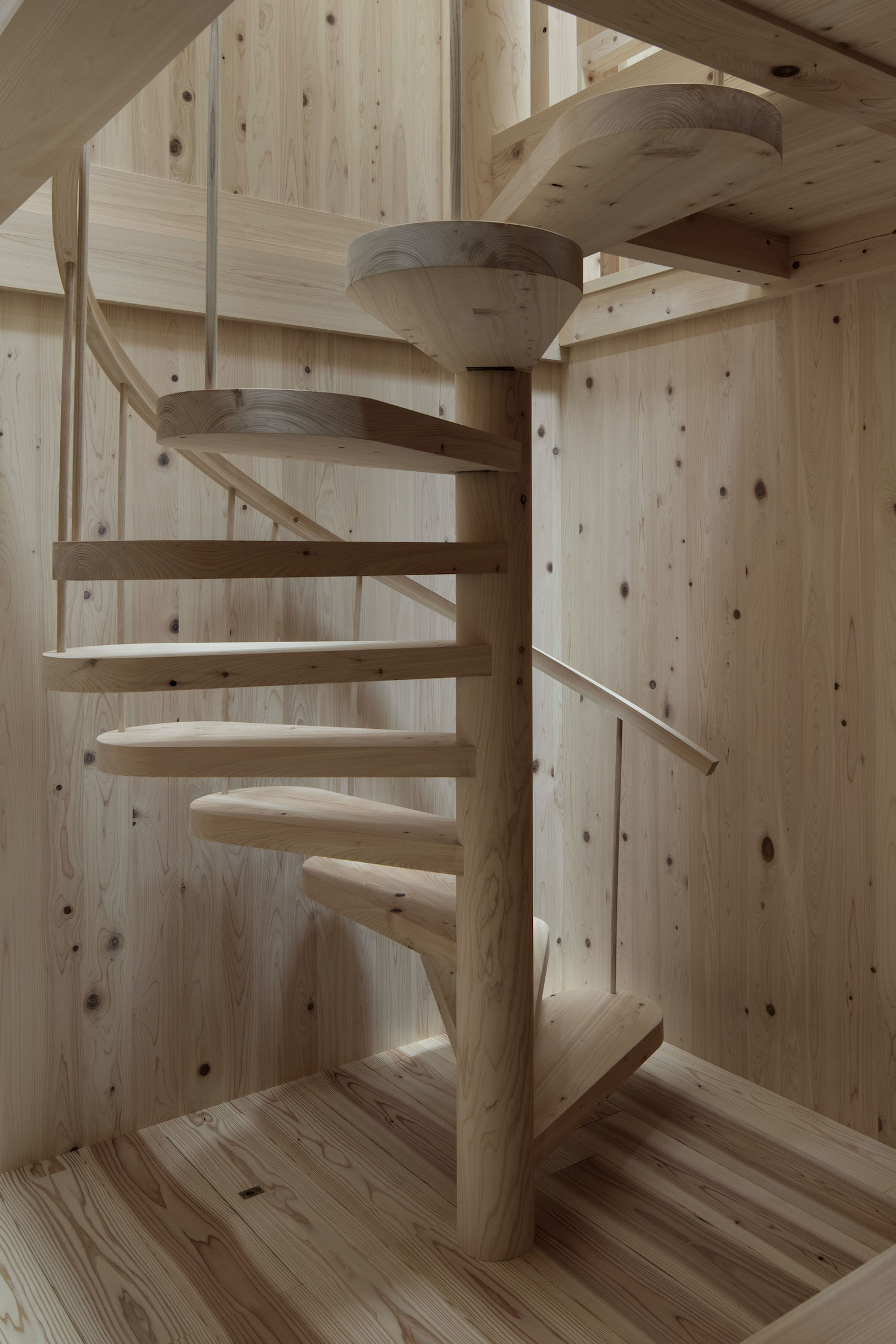 spiral staircase with wooden material