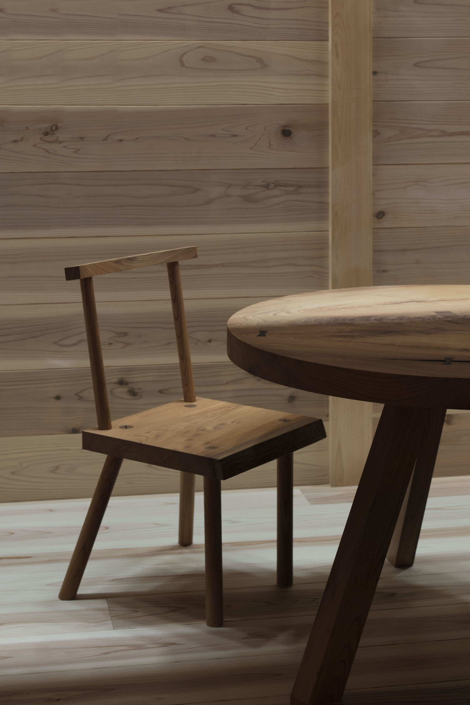 wooden chair and wooden table