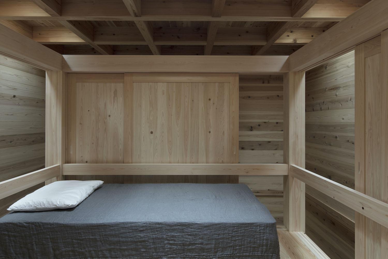 bedroom in a wooden room
