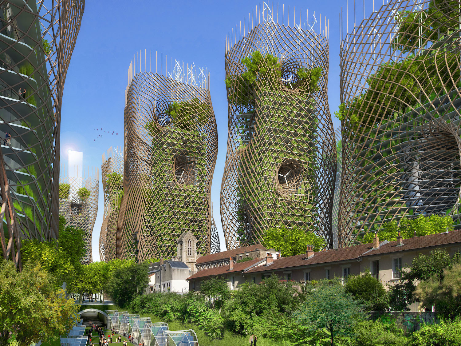 bamboo towers with turbine in the middle