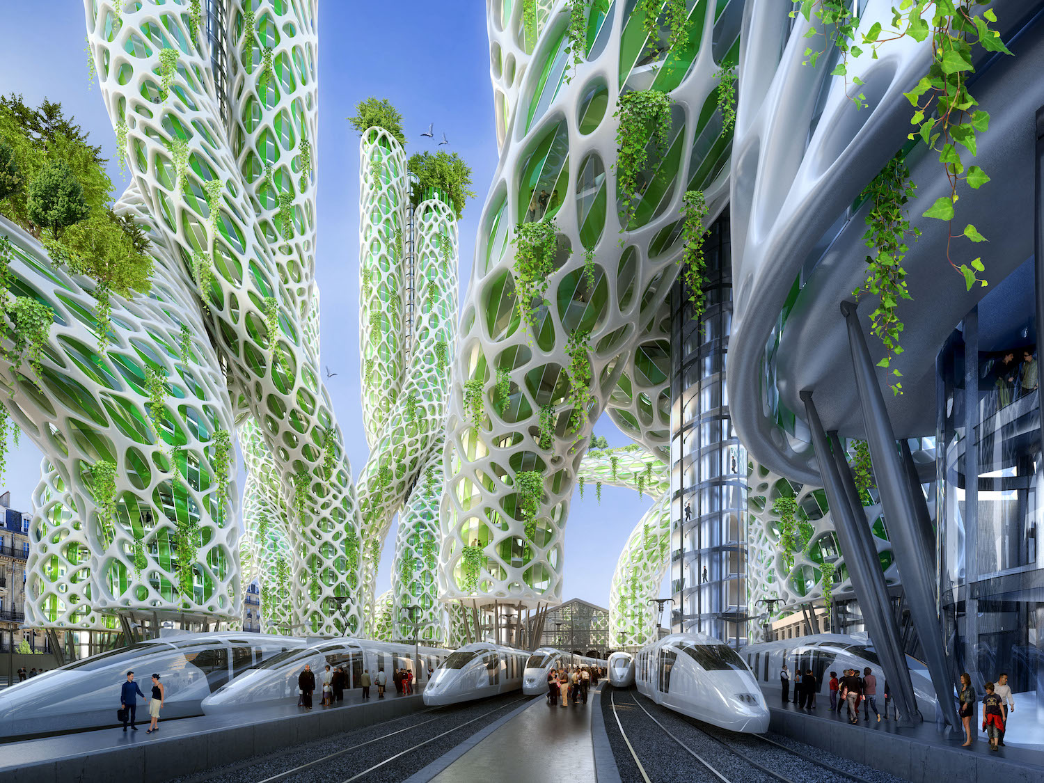 futuristic spiral green towers