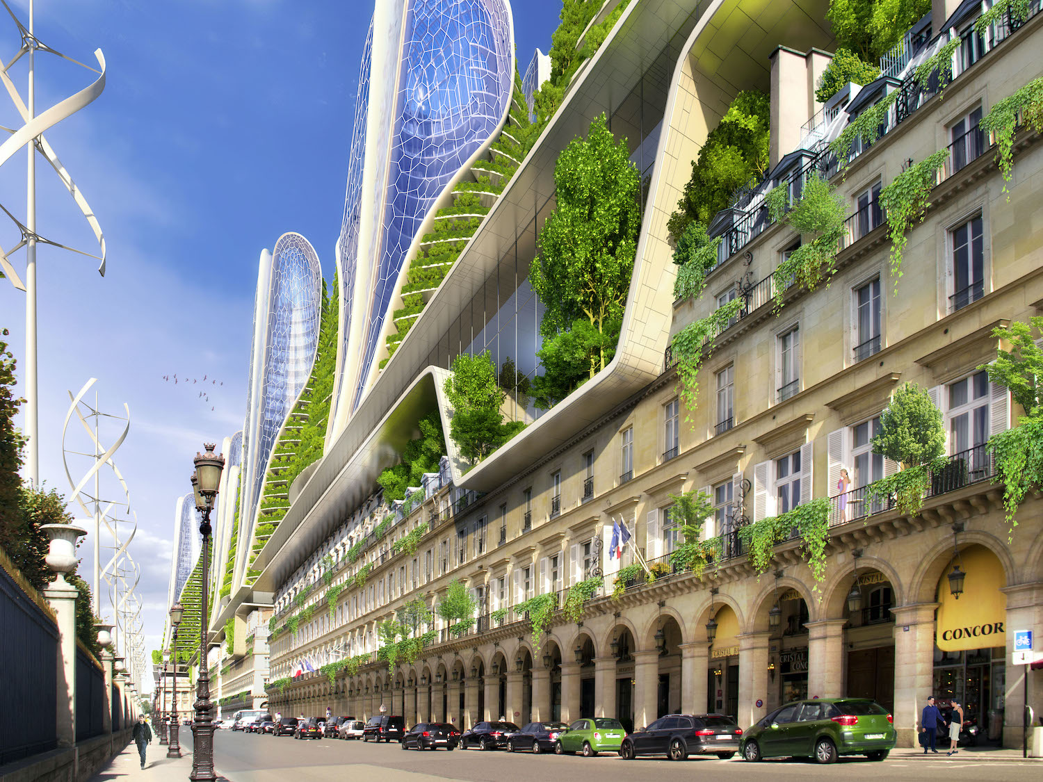 Paris street with genre plants in balconies