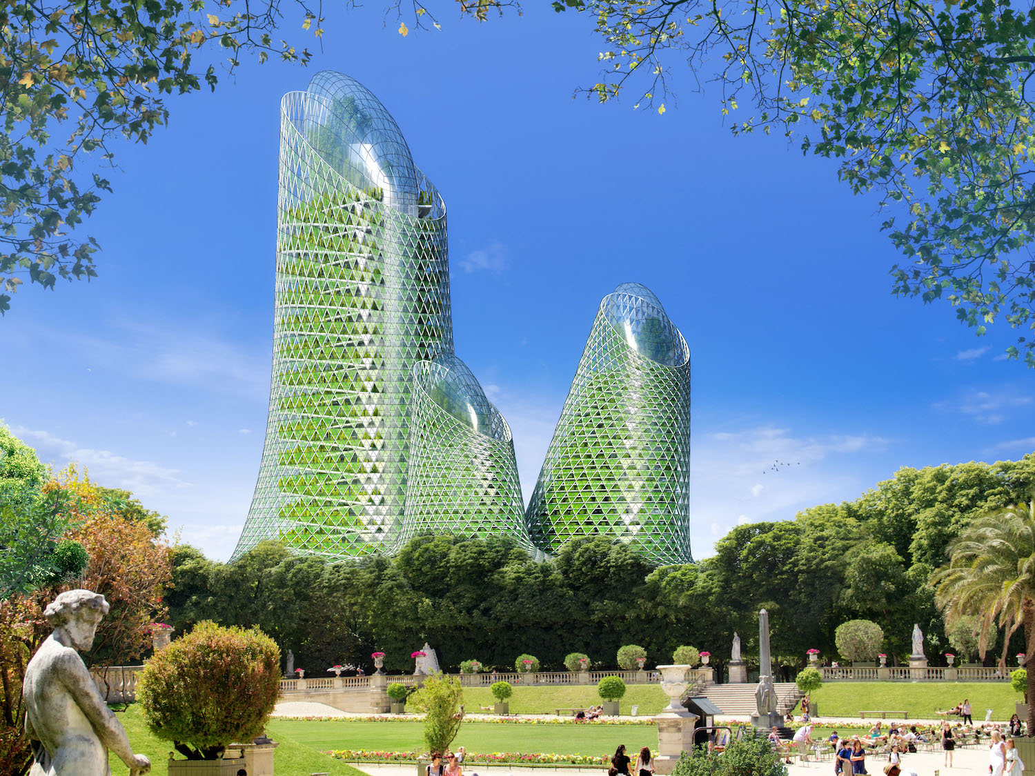 futuristic green skyscrapers with green landscape at surroundings