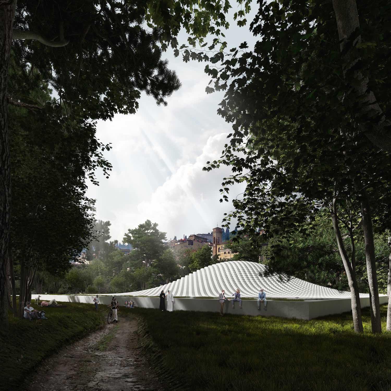 a futuristic Islamic cultural center