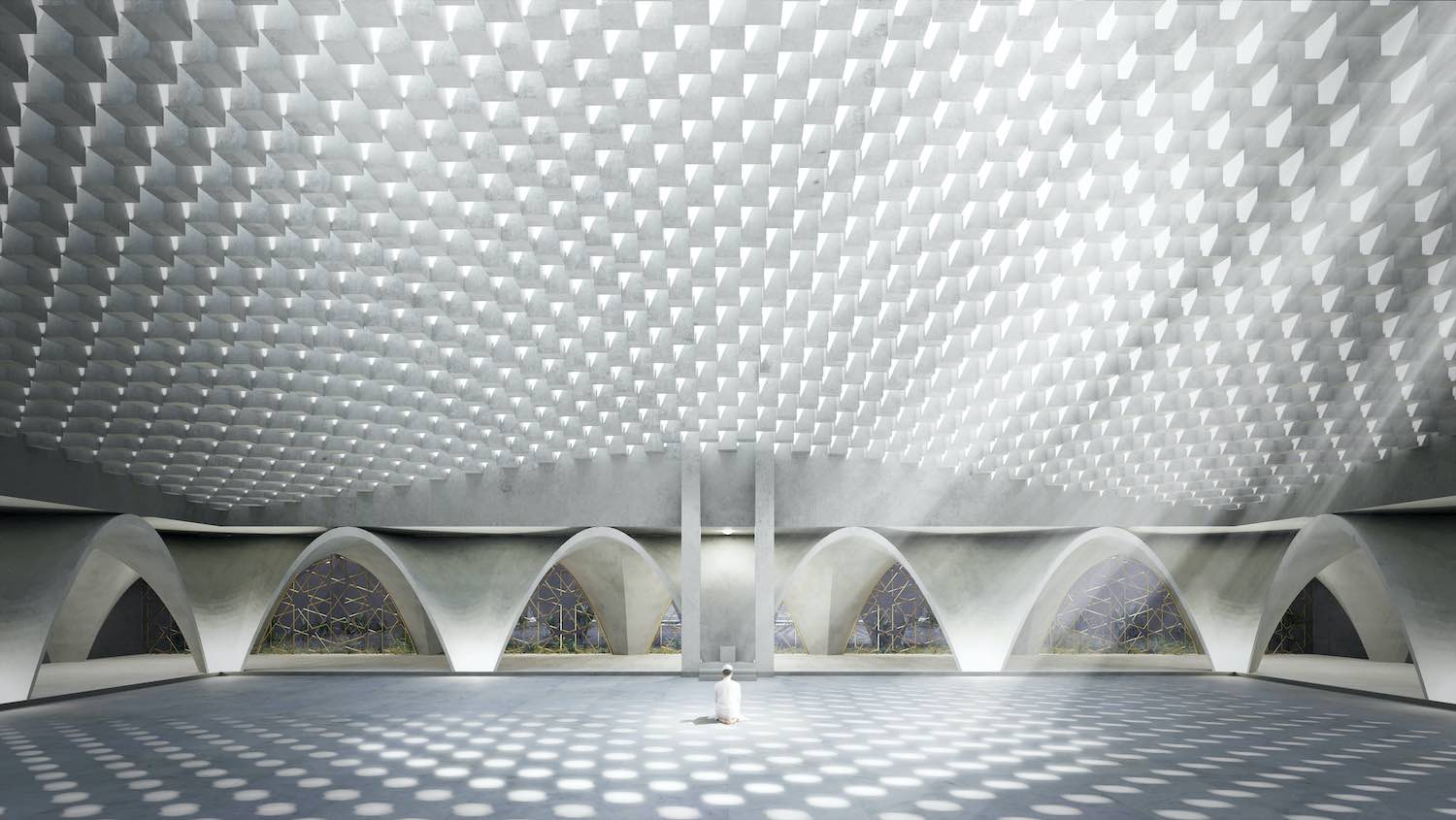 a man praying inside a modern mosque with parametric roof