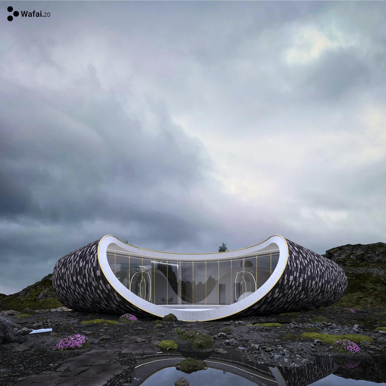 a curvy shape house