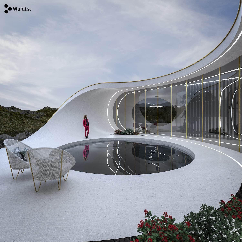 a curvy home with circular pool