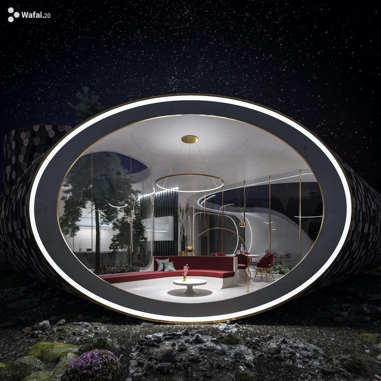 living area can be seen through a big circular window