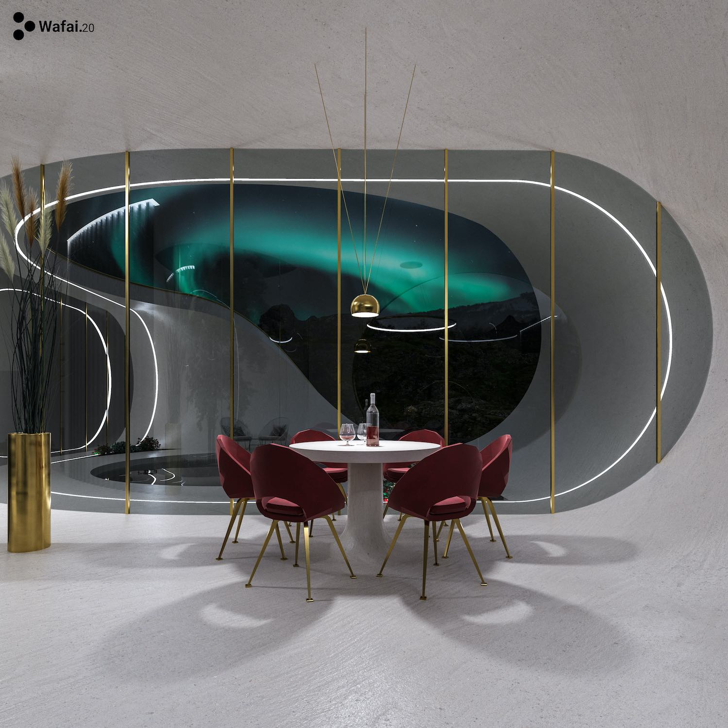 dining area with spectacular night view through circular window