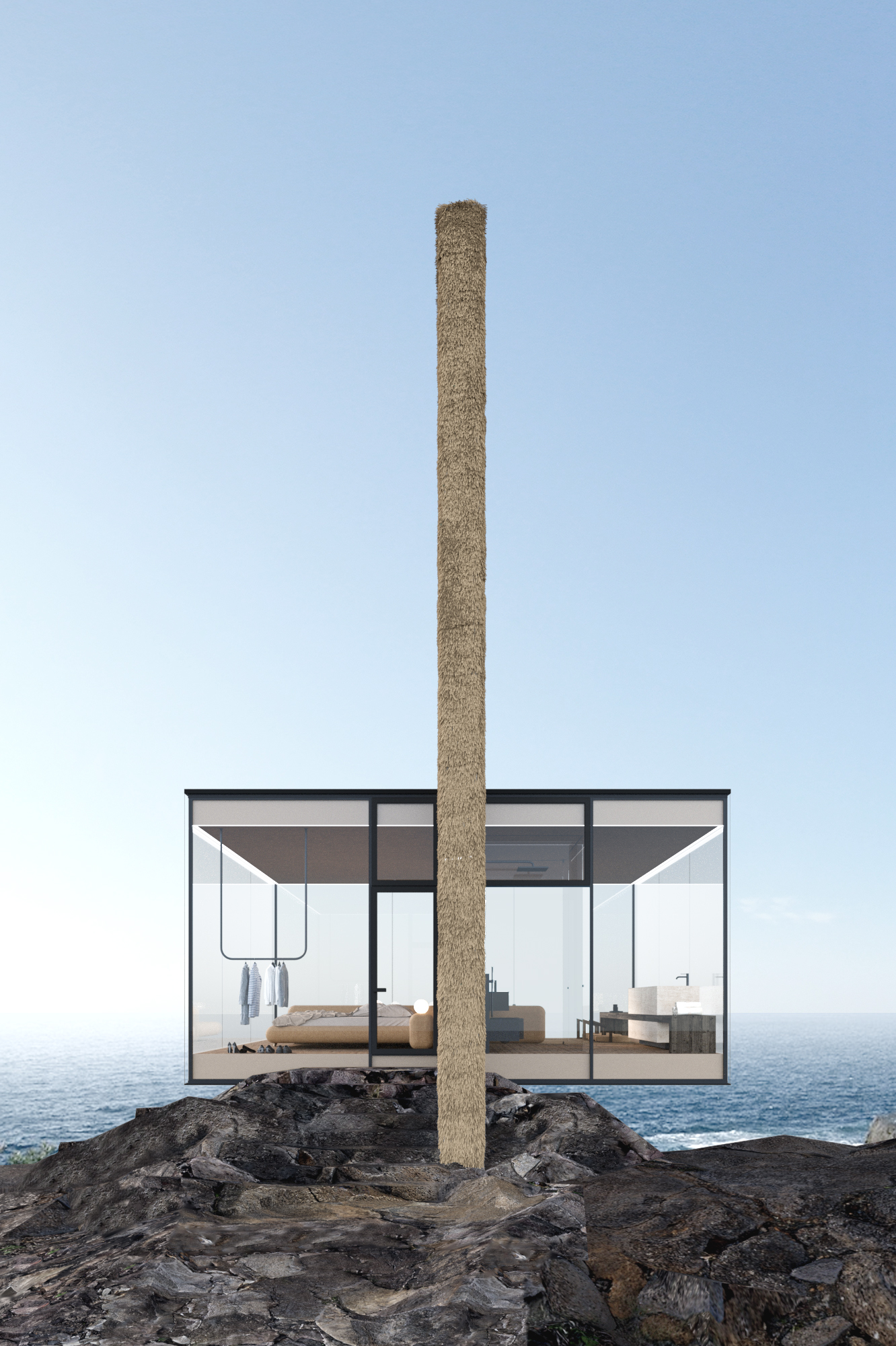 cliff house with transparent 270 degree windows