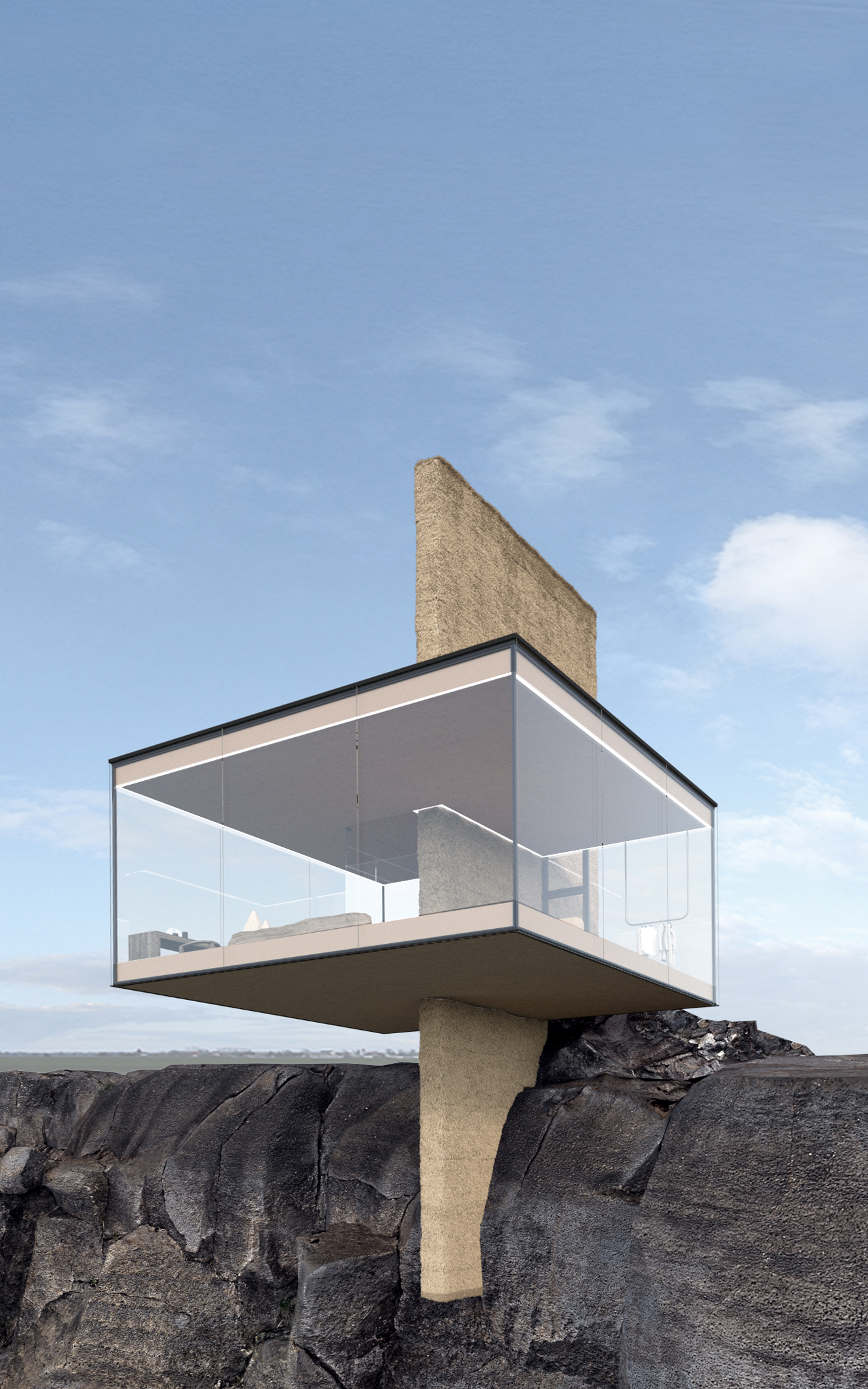 a house with 270 degree window son a cliff