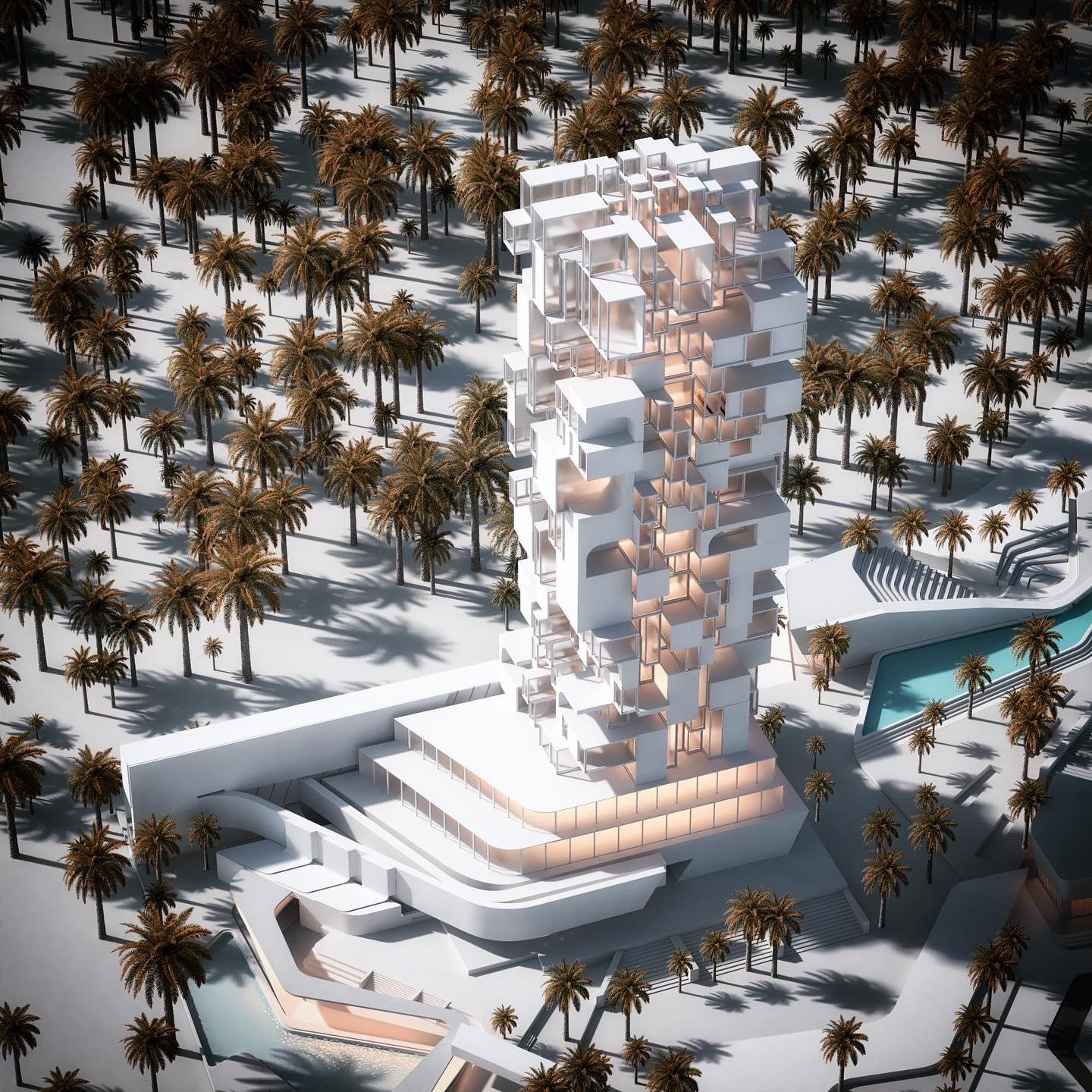 rendering image of a building surrounded with palm trees
