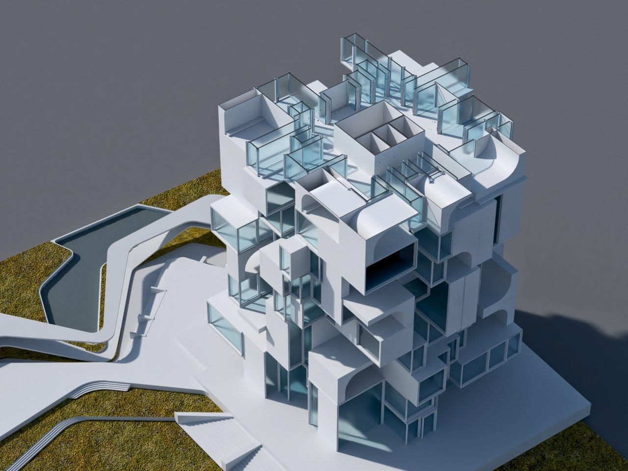 building sections shown in the 3d model