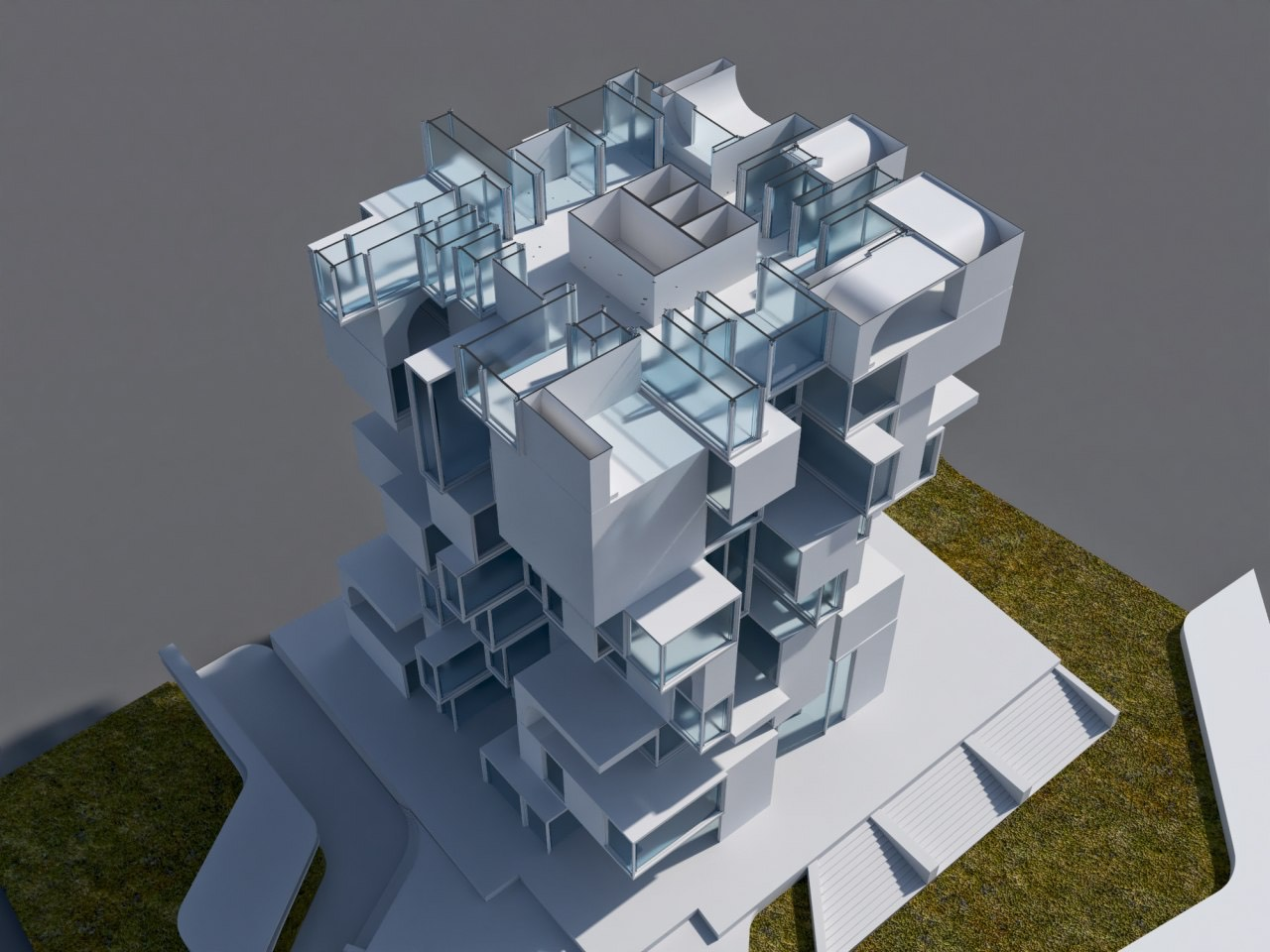 architectural model before rendering process