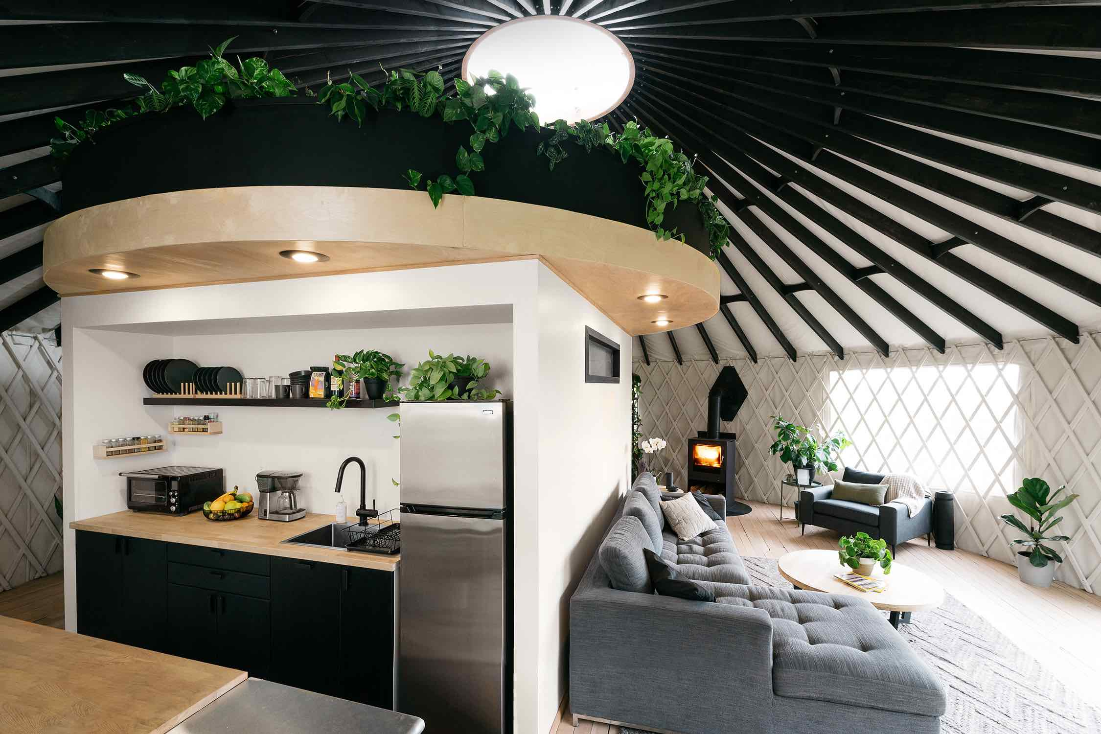 a loft located in the middle of yurt