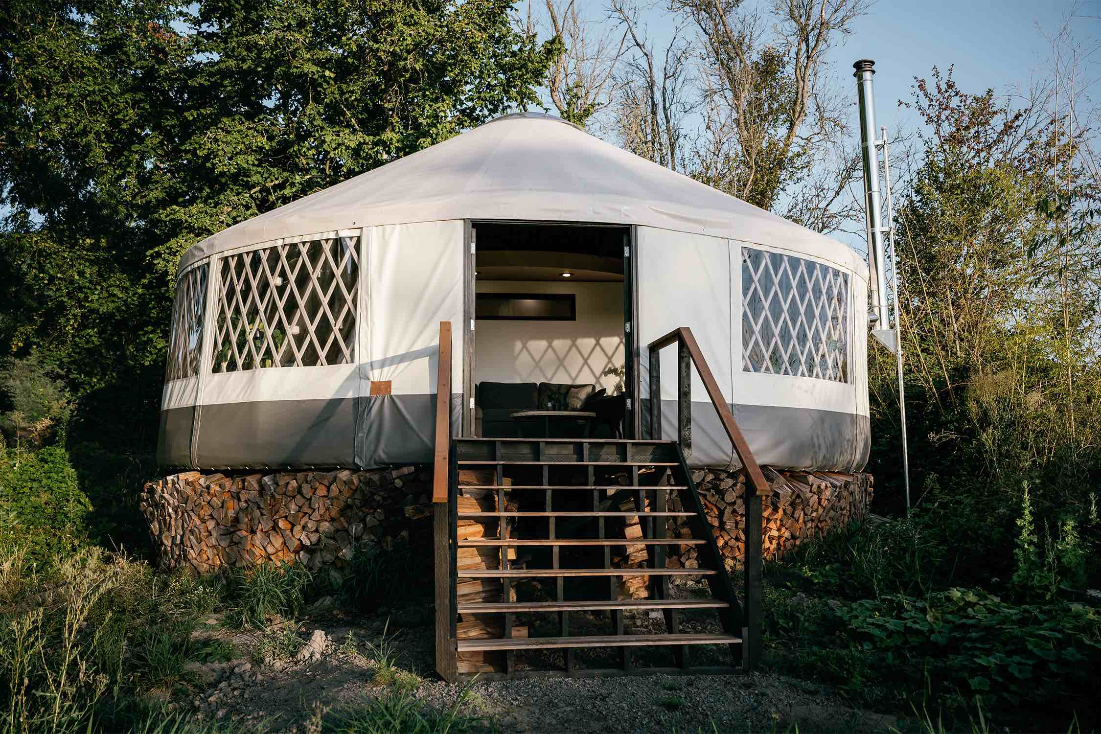 the exterior view of the yurt on an island
