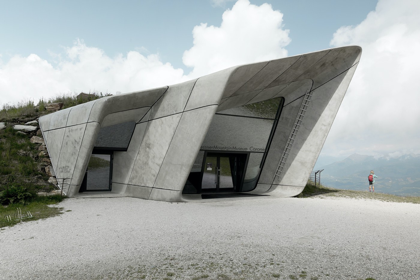 a concrete museum on the hill